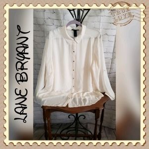 Lane Bryant Cream Sheer Hi Low Blouse